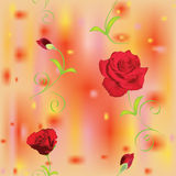 Configuration florale sans joint avec les roses rouges Images libres de droits