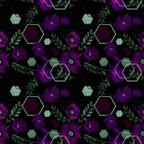 Configuration florale sans joint Fleurs pourpres avec les éléments décoratifs sur un fond noir Images libres de droits