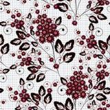 Configuration florale sans joint Fleurs rouge foncé et noires sur le fond blanc illustration libre de droits