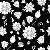 Configuration florale sans joint noire et blanche Photo stock