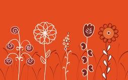 Configuration florale sur le fond rouge Photographie stock libre de droits