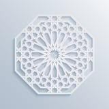 Configuration géométrique islamique Mosaïque musulmane de vecteur, motif persan Ornement oriental blanc élégant, art arabe tradit Photo libre de droits