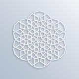Configuration géométrique islamique Mosaïque musulmane de vecteur, motif persan Ornement oriental blanc élégant, art arabe tradit illustration stock