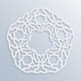 Configuration géométrique islamique Mosaïque musulmane de vecteur, motif persan Ornement oriental blanc élégant, art arabe tradit Image libre de droits