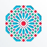 Configuration géométrique islamique Mosaïque musulmane du vecteur 3D, motif persan Ornement oriental élégant, art arabe tradition Photographie stock