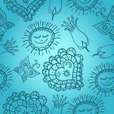 Configuration gaie bleue avec les coeurs et le soleil Photographie stock libre de droits
