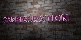 CONFIGURATION - Glowing Neon Sign on stonework wall - 3D rendered royalty free stock illustration Royalty Free Stock Photos