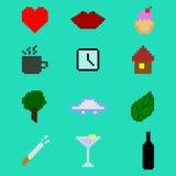 Configuration heureuse sans joint de famille du Pixel art Ensemble d'icône Photos libres de droits