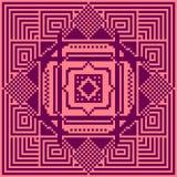 Configuration heureuse sans joint de famille du Pixel art Illustration géométrique de modèle Image libre de droits