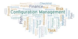 Configuration Management word cloud, made with text only. vector illustration