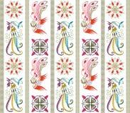 Configuration orientale florale et d'oiseaux illustration stock
