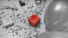 Configuration plate, colorée, célébration, fond boîte-cadeau, ballons, confettis, vue supérieure Copiez l'espace photo stock