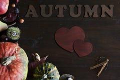 Configuration plate de belle chute rustique avec les feuilles, les potirons, les châtaignes et les lettres automne et coeurs sur  Photos stock