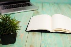 Configuration plate de bureau d'espace de travail avec le carnet de blanc de smartphone d'ordinateur portable et la plante verte Image stock