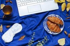 Configuration plate de concept bleu profond d'automne avec un ordinateur portable, des feuilles de chute et un casse-croûte image libre de droits