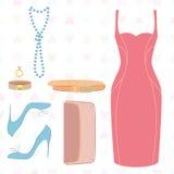 Configuration plate de robe, chaussures, embrayage illustration de vecteur