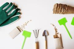 configuration plate de travail de jardin de ressort avec les graines végétales dans les enveloppes faites main Photo stock