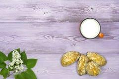 Configuration plate Tasse orange avec du lait Biscuits doux faits maison Brin et fleurs lilas blanches sur la table Images stock