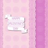 Configuration rayée florale sans joint Ruban de bande dessinée avec le jour de valentines heureux des textes illustration libre de droits