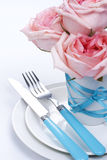 Configuration romantique de table Photos stock