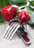 Configuration romantique de table Photo stock