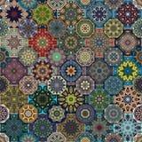 Configuration sans joint Éléments décoratifs de cru Fond tiré par la main L'Islam, l'arabe, Indien, motifs de tabouret Perfection Photographie stock libre de droits