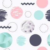 Configuration sans joint abstraite avec des cercles Memphis Trendy Background 80s Photo stock