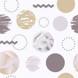 Configuration sans joint abstraite avec des cercles Memphis Trendy Background 80s Photo libre de droits