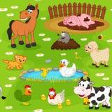 Configuration sans joint avec des animaux de ferme Image stock