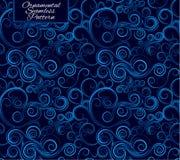 Configuration sans joint avec des enroulements Ornement bleu Illustration Stock