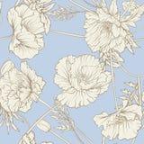 Configuration sans joint avec des fleurs de pavot Photo stock