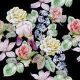 Configuration sans joint avec des fleurs de source Rose Clematis Tulipe Jacinthe iris watercolor illustration de vecteur