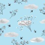 Configuration sans joint avec des fleurs et des oiseaux Image stock