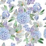 Configuration sans joint avec des fleurs iris Alstroemeria hydrangea papillons Illustration d'aquarelle Photo stock
