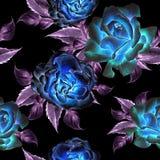 Configuration sans joint avec des fleurs Rose Illustration d'aquarelle Photographie stock libre de droits