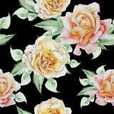 Configuration sans joint avec des fleurs Rose Illustration d'aquarelle Image stock