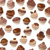 Configuration sans joint avec des gâteaux Photo stock