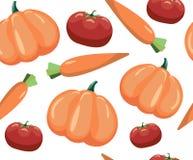 Configuration sans joint avec des légumes Légumes sur le fond blanc Tomate, carotte et potiron illustration de vecteur