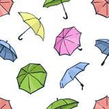 Configuration sans joint avec des parapluies Fond coloré mignon d'automne Photographie stock libre de droits