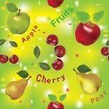 Configuration sans joint avec des pommes, des poires et la cerise Photographie stock