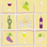 Configuration sans joint avec des raisins, bouteille, gobelets, Photos stock
