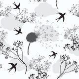 Configuration sans joint avec le pissenlit, les fleurs et l'oiseau Photo libre de droits