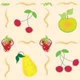 Configuration sans joint avec les baies et les fruits abstraits Photos stock