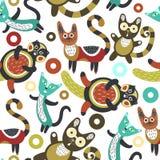 Configuration sans joint avec les chats drôles Fond artistique avec les chatons mignons Animaux colorés Animaux familiers préféré Images stock