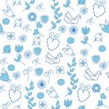 Configuration sans joint avec les fleurs bleues Photographie stock