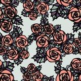 Configuration sans joint avec les roses roses Photographie stock