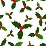 Configuration sans joint Baies de houx de Noël sur le fond blanc Illustration de vecteur Éléments tirés par la main illustration libre de droits