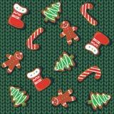 Configuration sans joint Biscuits de pain d'épice de Noël sur un fond tricoté Une couverture de laine Festin de Noël festive illustration de vecteur