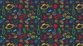 Configuration sans joint bleue Texture d'icônes de tableau de bord de voiture Répétition des signes de code de dtc Coloré, irregu Photographie stock
