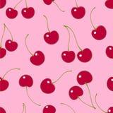 Configuration sans joint Cerises rouges sur un fond rose illustration de vecteur